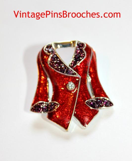 4f736be03bfe0 Vintage Ruby Red Purple Amethyst Rhinestone Enamel Designer Women's Suit  Jacket Pin Brooch, Ladies Designer Brooches Pins Jewelry
