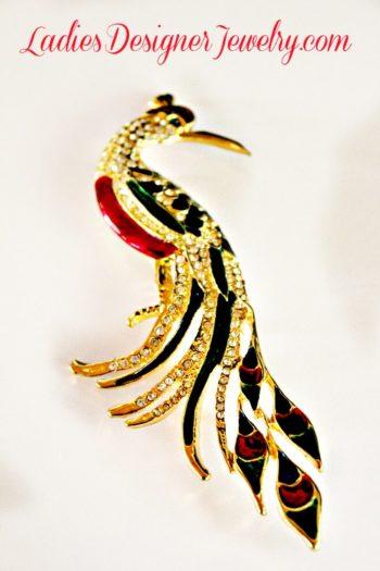 b631fe998 Peacock Bird Enamel & Rhinestone Pin Figural Vintage Brooch, Women's  Designer Fashion Jewelry, Birds Peacocks – Vintage Pins Brooches .