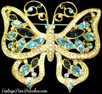 Vintage Butterfly Brooches Pins Jewelry, Rhinestone Butterfly Pin Brooch,  Insect Pin, Butterflies,