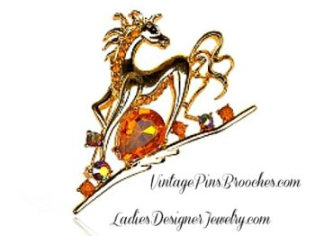 Vintage Equestrian Charm Bracelet and Galloping Horse Brooch Pin
