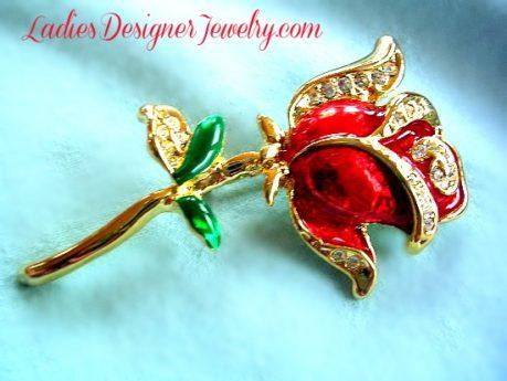 a560867855b42 Vintage Art Deco Red Enamel Rhinestone Rose Flower Brooch Pin, Wedding  Bridal Designer Fashion Floral Jewelry Flowers Brooches 3MK