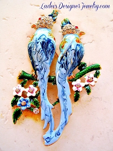 Birds brooch pin rhinestone bird of paradise love bird parrot bird on Tree Branch Flowers painted enamel Duette style