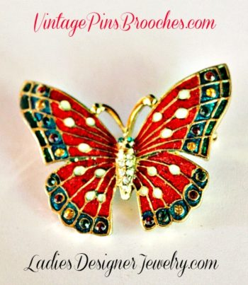 Vintage Red White Green Enamel Rhinestone Butterfly Insect Bug Pin Brooch,  Vintage Butterflies Pins Brooches
