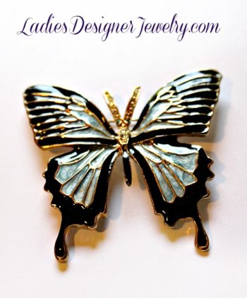 Vintage Diamond Emerald Rhinestone Enamel Large Butterfly Brooch Pin, Butterflies  Jewelry