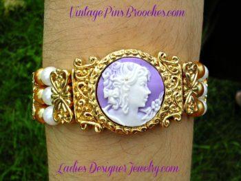 Vintage Victorian Silhouette Cameo Orange White Gl Beaded Bracelet Las Designer Jewelry Bracelets Purple