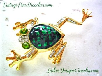Frog Brooches Pins Vintage, Green Enamel Pave Rhinestone Crystal Frog Pin  Brooch, Frogs,