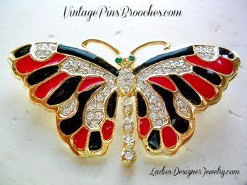 "W 1.25/"" Pink Enamel Lady bug Ladybug Beetle Insect Rhinestone BROOCH PIN"