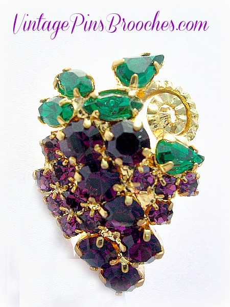 792cfc83a Vintage Purple Amethyst Emerald Green Cluster Of Grapes Tac Pin Brooch,  Grapes, Emeralds,