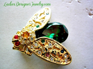 fcab1eac5f96c Vintage Emerald Green Rhinestone Fly Insect Bug Bee Pin Brooch Jewelry