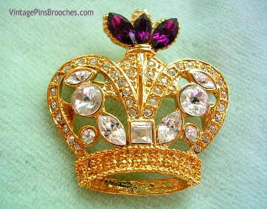 b7887b708 Vintage Amethyst Purple Diamond Rhinestone Crown Pin Brooch, Rhinestone  Crown Brooches Pins Women, Ladies
