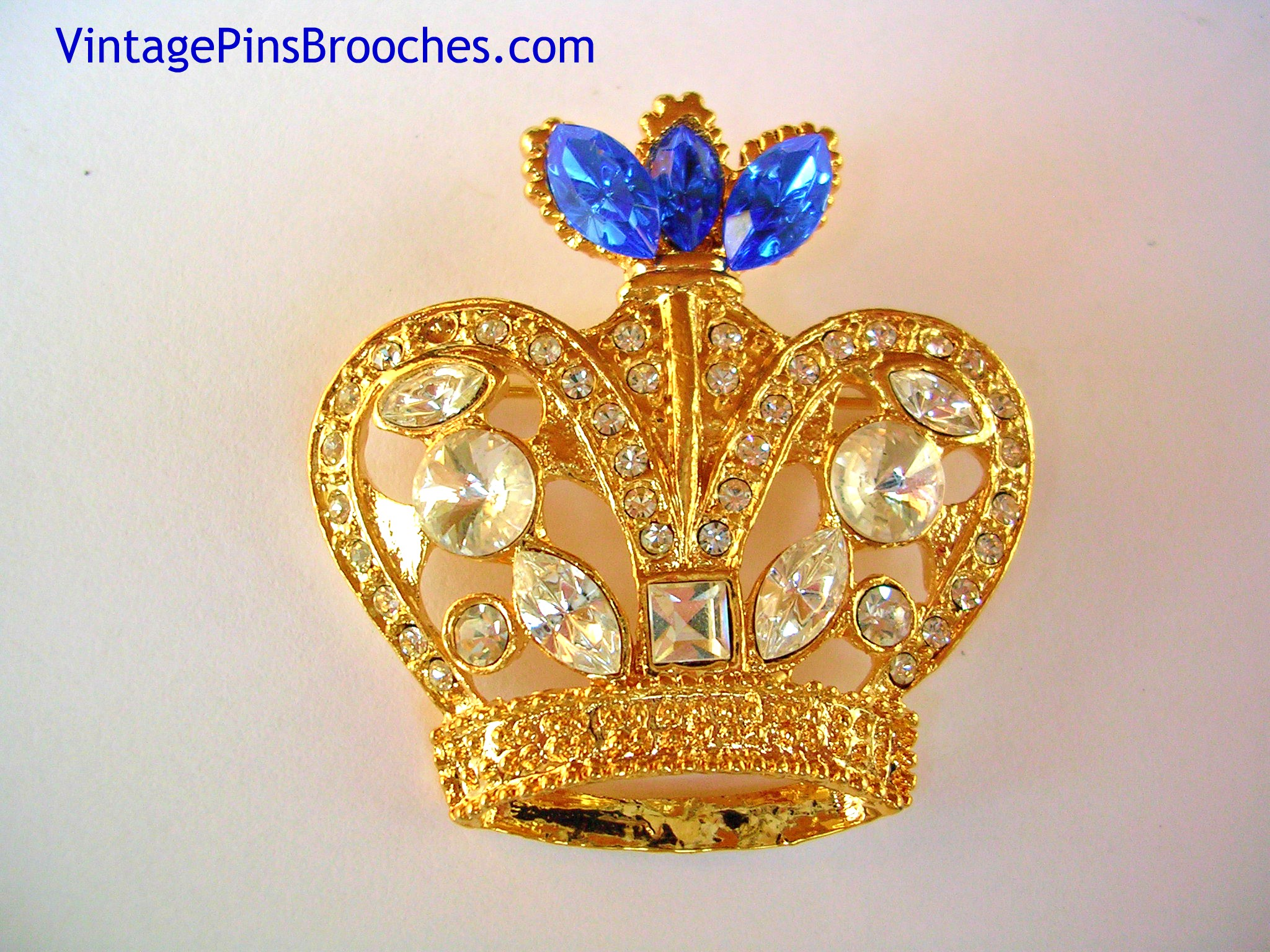 e6dcbf20e6980 Vintage Blue Sapphire Diamond Rhinestone Royal Crown Brooch Pin Jewelry,  Prom Pageant Religion Brooches Pins Crowns