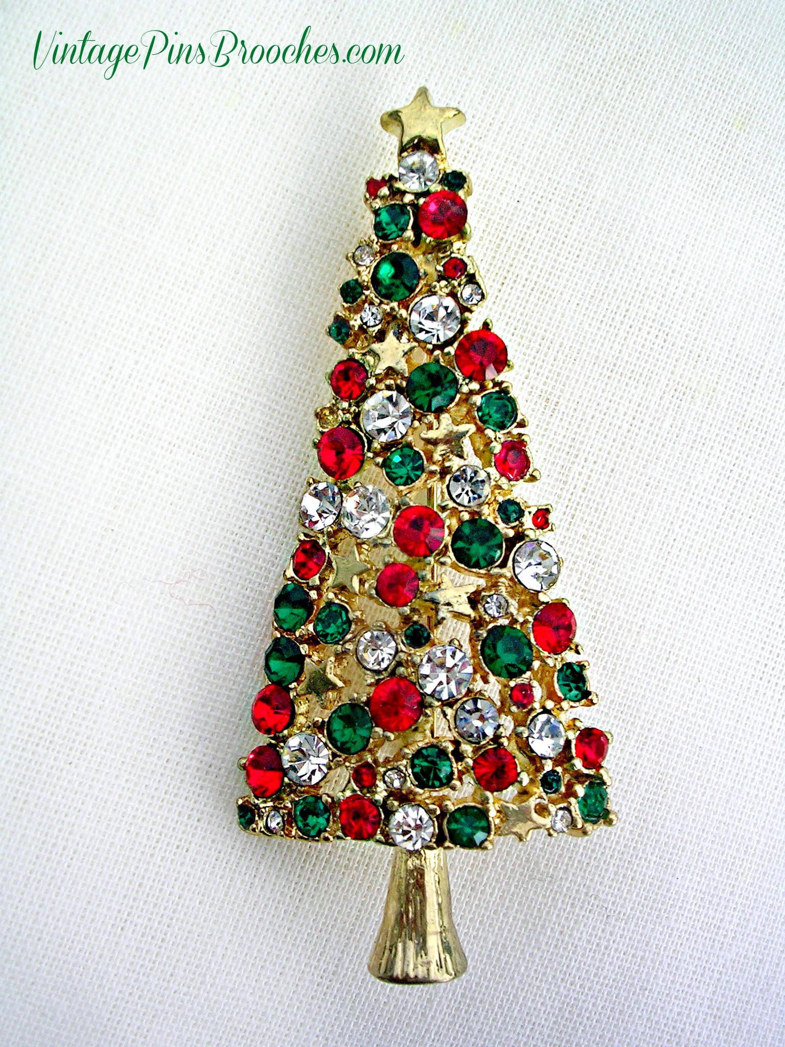 c961d552689 Vintage Gold Plate Diamond Emerald Ruby Tall Christmas Tree Brooch Pin,  Ladies Holiday Jewelry Brooches P76 – Vintage Pins Brooches .