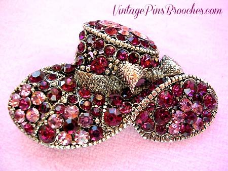 934c5c9f70f2c Vintage Purple Amethyst Rhinestone Fashion Silver Plate Hat Brooch ...